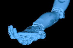 Mano robot del raggio x con la palma della mano aperta Fotografie Stock