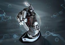 Mano robótica arriba detallada en el traje de negocios que señala con el dedo índice Fotos de archivo libres de regalías