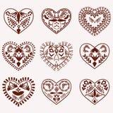 Mano romántica del vector de los corazones dibujada Imagenes de archivo