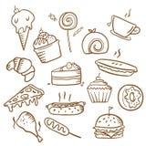 Mano simple de la comida dibujada Fotografía de archivo