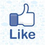 Mano soddisfatta dell'icona Facebook gradice l'icona illustrazione di stock