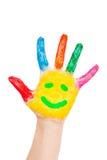 ¡Mano sonriente Open - hola! Aislado en blanco Fotografía de archivo