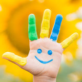 Mano sorridente felice Fotografia Stock Libera da Diritti