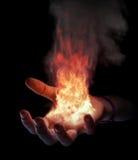 Mano su fuoco Fotografia Stock Libera da Diritti
