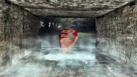 Mano surrealista que agarra el callejón del smokey de la manzana abajo Imagenes de archivo