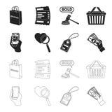 Mano, telefono cellulare, deposito online e l'altra attrezzatura Icone stabilite della raccolta di commercio elettronico nel nero Immagini Stock
