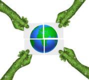 Mano, tierra del planeta del símbolo de la ecología Fotos de archivo