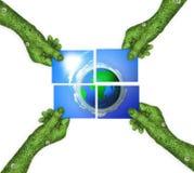 Mano, tierra del planeta del símbolo de la ecología Imagen de archivo libre de regalías