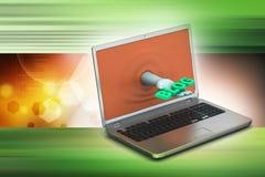 Mano tramite il computer portatile che mostra blog Fotografia Stock