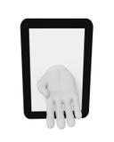 mano umana bianca 3d del computer portatile dello schermo Priorità bassa bianca Immagine Stock