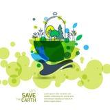 Mano umana che tiene terra verde con gli alberi Immagine Stock Libera da Diritti