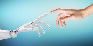 Mano umana che tocca una mano del android Fotografie Stock Libere da Diritti