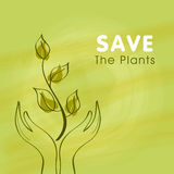 Mano umana con la pianta per la natura di risparmi Fotografia Stock Libera da Diritti