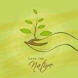 Mano umana con la pianta per la natura di risparmi Immagine Stock