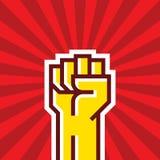 Mano umana sulla rivoluzione proletaria - Vector il concetto dell'illustrazione nello stile di agitazione dell'Unione Sovietica P illustrazione vettoriale