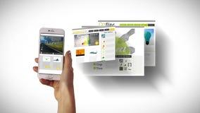 Mano usando apps en smartphone stock de ilustración
