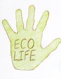 Mano verde del disegno con il segno di vita di eco Immagine Stock
