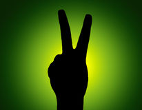 Mano verde della parte della siluetta Fotografie Stock Libere da Diritti