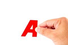 Mano y alfabeto A, aislados Fotografía de archivo