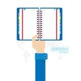 Mano y brazo determinados del icono de los datos estadísticos del libro del vector Imagen de archivo libre de regalías