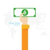 Mano y brazo determinados del icono del mundo del mapa del dólar del dinero del vector Fotografía de archivo