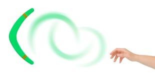 Mano y bumerang Imagen de archivo libre de regalías