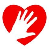 Mano y corazón Fotos de archivo libres de regalías
