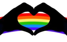 Mano y corazón de LGBT en el arco iris ilustración del vector