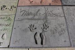 Mano y huellas, Hollywood de Meryl Streeps imagen de archivo