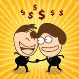 Mano y joyfull lindos del control del hombre de negocios dos su dinero Imágenes de archivo libres de regalías