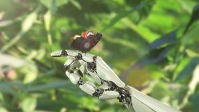 Mano y mariposa del robot stock de ilustración