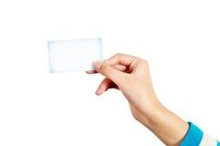 Mano y tarjeta Fotografía de archivo