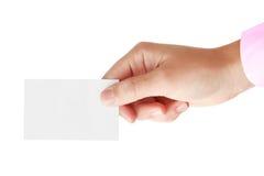 Mano y tarjeta en blanco Imagenes de archivo