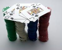 Mano y virutas de póker (2) Imágenes de archivo libres de regalías