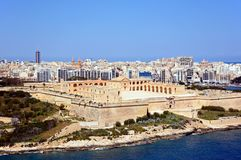 Manoel Fort, Malta. Elevated view of Manoel Fort on Manoel Island seen from Valletta with Sleima to the rear, Valletta, Malta, Europe Royalty Free Stock Images