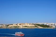 Manoel Fort, Malta. View of Manoel Fort on Manoel Island seen from Valletta with Sleima to the rear, Valletta, Malta, Europe Royalty Free Stock Image