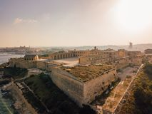 Manoel island fortress near Valletta on Malta. Beautiful aerial view of the Manoel island fortress near Valletta on Malta Stock Photos