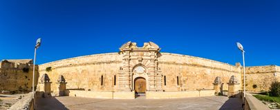 Manoel Island, Malta - Panoramic view of the entrance of Fort Manoel at daytime. With clear blue sky Stock Photo