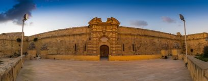 Manoel Island, Malta - Panoramic view of the entrance of Fort Manoel Royalty Free Stock Images