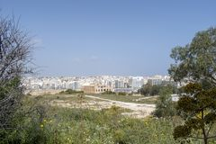 Maltese islands - view of Sliema from Manoel Island. Manoel Island  is a small island which forms part of the municipality of Gżira in Marsamxett Harbour, Malta Royalty Free Stock Photo