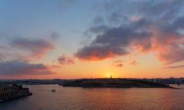 Manoel Island at sunset in Malta Island. Landscape with Manoel Island - view from Valletta Royalty Free Stock Photos