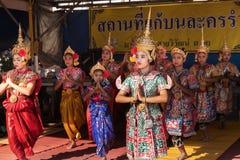 MANOHRA är folkdansen i nordliga Thailand av Thailand på den berömda runt om världen templet Royaltyfri Foto