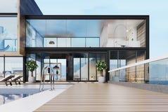 Manoir de luxe avec une piscine sur le toit illustration libre de droits