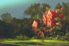 Manoir rouge dans les bois illustration stock