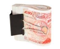 Manojo de 50 billetes de banco de la libra esterlina imagen de archivo libre de regalías