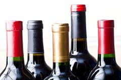 Manojo de botellas de vino no abiertas aisladas Fotos de archivo