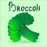 Manojo de bróculi en el fondo verde claro Dibuje su ensalada usted mismo Foto de archivo