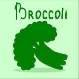 Manojo de bróculi en el fondo verde claro Dibuje su ensalada usted mismo Imagen de archivo libre de regalías
