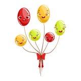 Manojo de carácter femenino sonriente feliz brillante de la historieta animada del objeto de la fiesta de cumpleaños de los niños Imágenes de archivo libres de regalías