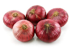 Manojo de cebolla roja madura aislada en blanco fotografía de archivo libre de regalías